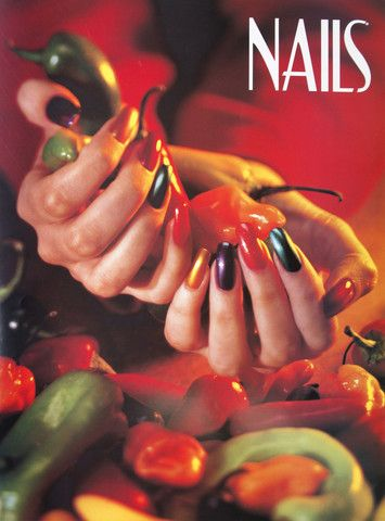 Colorful Chili Peppers NAILS Salon Poster - $1