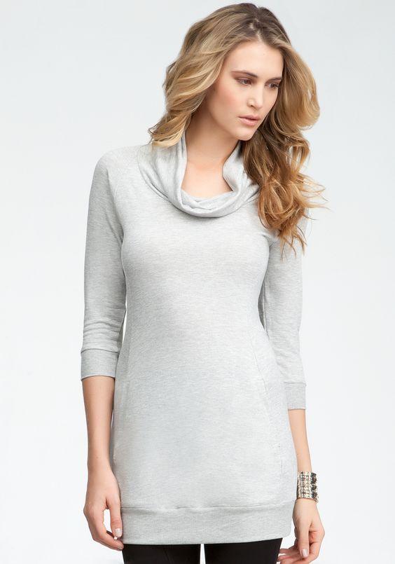 Logo Cowl Neck 3/4 Sleeve Tunic - Heather Grey - Xs