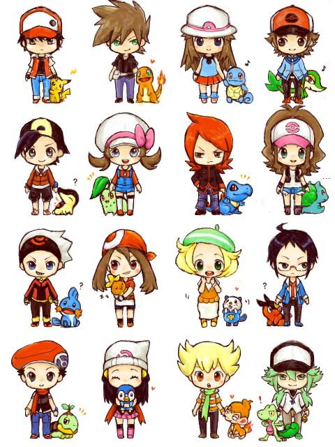 Chibi Pokemon trainers