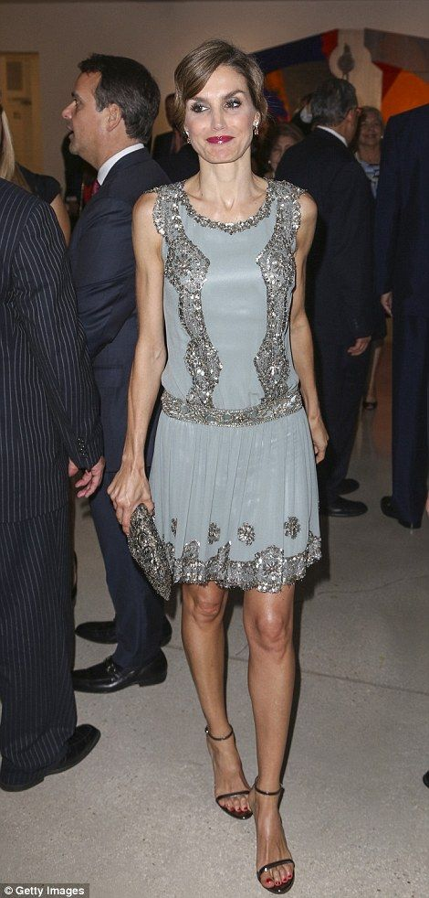 Spanish Queen Letizia revived a glamorous vintage dress on her third day of the U.S. tour...