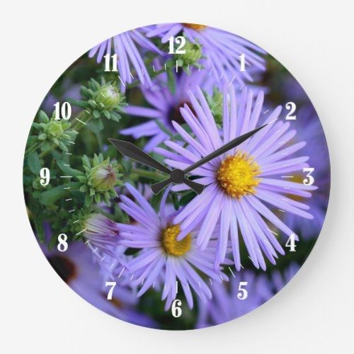 Pretty Aster Flowers With Numeric Dial Large Clock Zazzle Com In 2020 Large Clock Aster Flower Mason Jar Garden