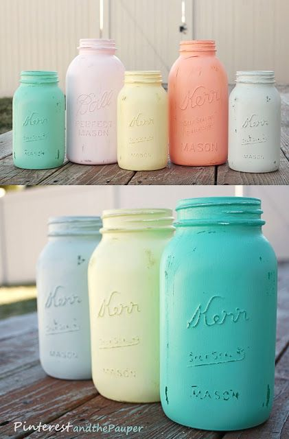 : DIY Painted Mason Jars! Great for bathroom decor and organization.