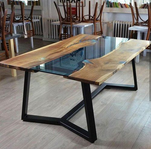 Delmara Standard Height Wooden Epoxy Resin River Dining Table For Home Size Dimension 2x4 3x6 2x2 2x6 Dining Table Square Dining Tables Dining Table Design