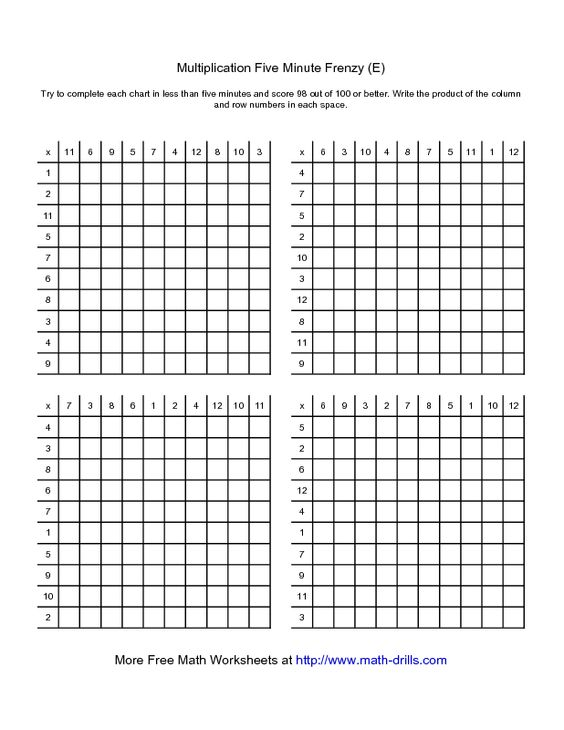 math worksheet : multiplication worksheet  five minute frenzy  four per page e  : Multiplication Square Worksheet