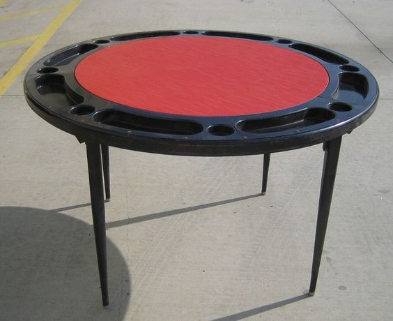 VTG Poker Table Black Metal with Red Vinyl Top Round Folding Card