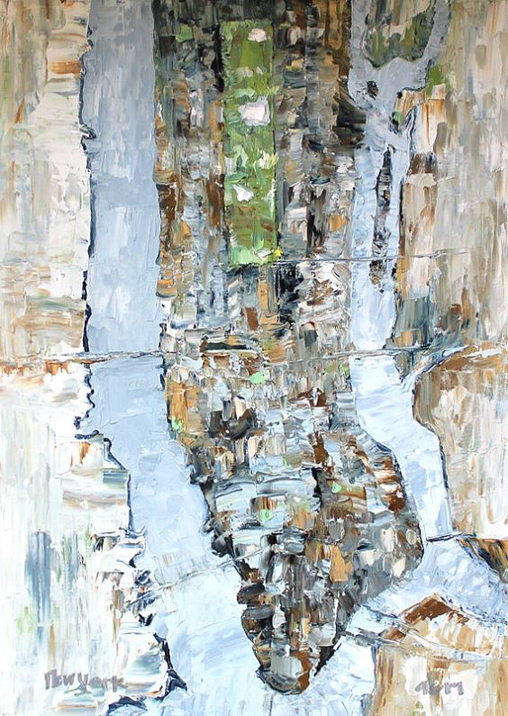 New York City 16x12 Large Map Oil Painting on Canvas Paper