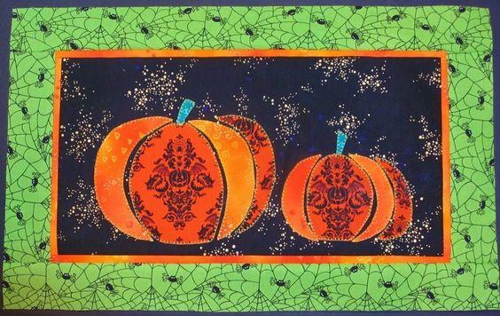 HALLOWEEN PUMPKINS & SPIDERWEBS  Mini Quilt Top +  Binding  LAUREL BURCH FABRIC