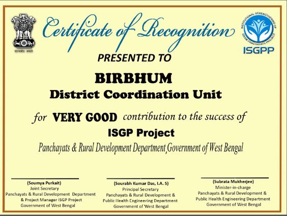 Certificate of Recognition presented to ISGPP Birbhum District - certification of appreciation wording