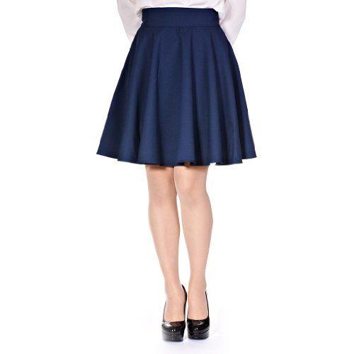 High Waisted Navy Blue Skirt