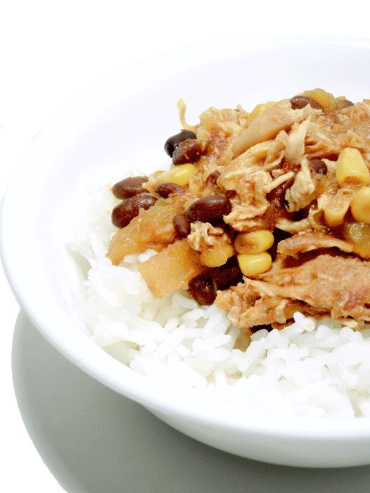 Slow cooker mango (or peach) chicken
