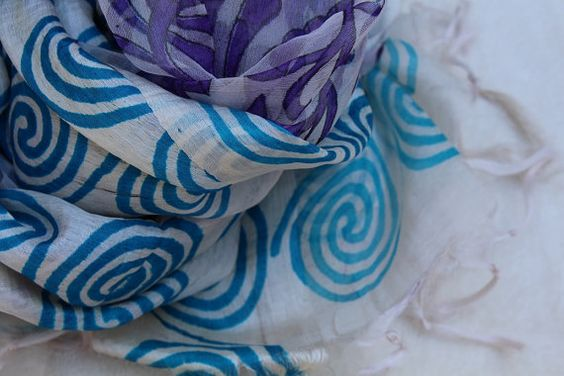 Pure Paper Silk Scarf Hand Weaved and Hand by MonsoonMedley