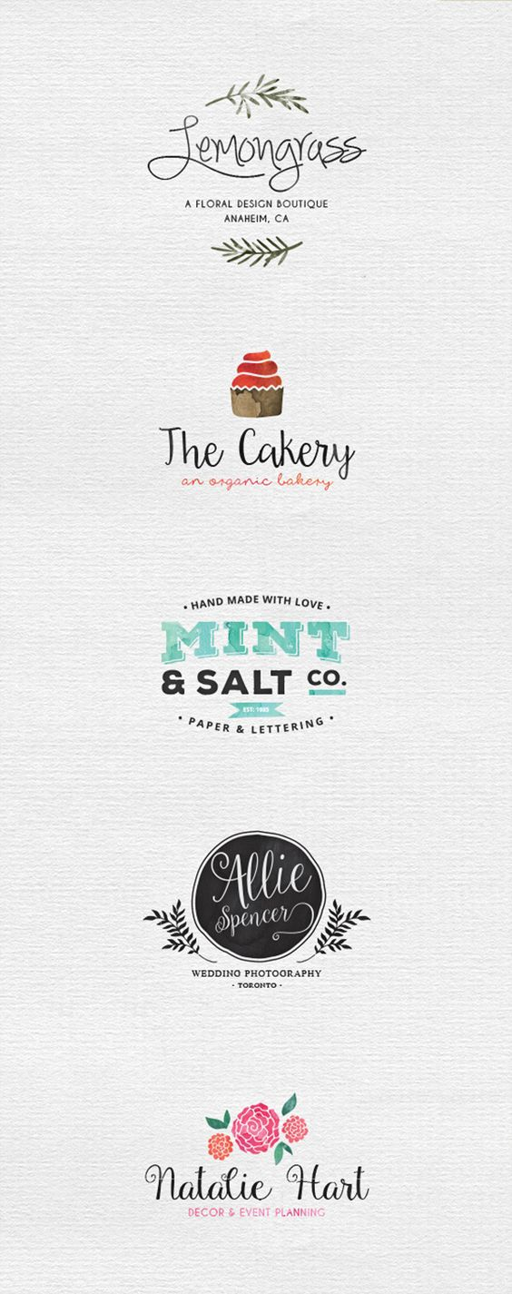 mint salts the leaf design combo font logo design watercolour