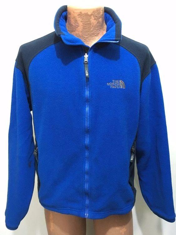 The North Face Mens S Blue Fleece Jacket Full Zip TheNorthFace