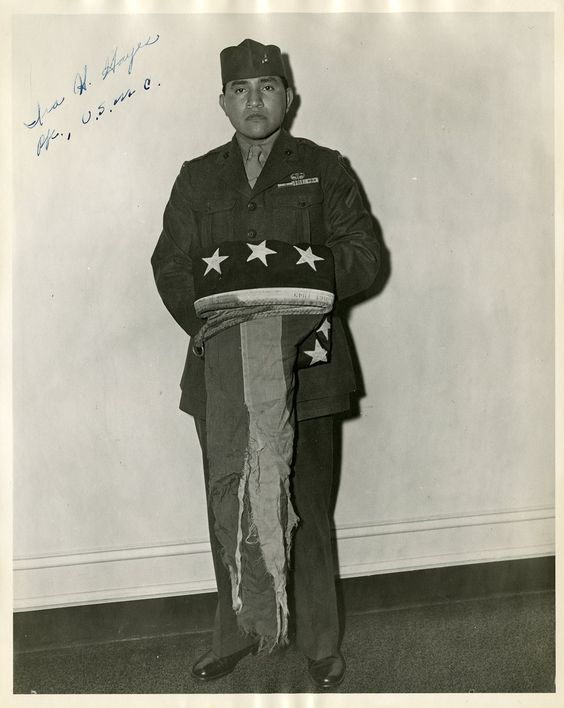 Ira Hayes - A Marine and one of three survivors of the men who raised the American Flag over Mt. Suribachi during the Battle of Iwo Jima in WWII
