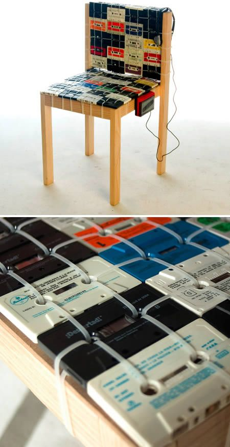 Cassette Tape Chair... upcycle those useless tapes! I would never have the patience or time to make this - but, it is super cool!: