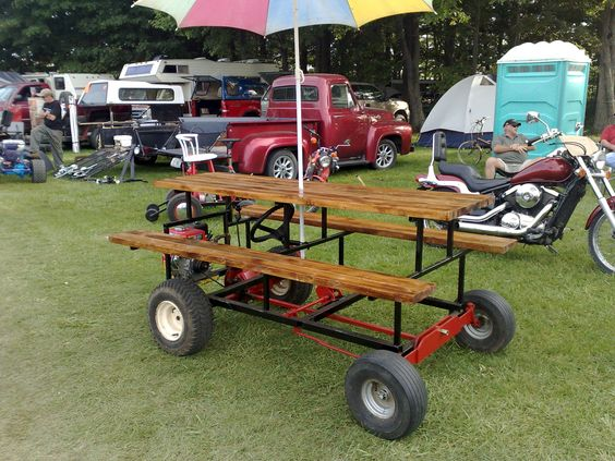 It 39 s a motorized picnic table so you can take all your Motorized table