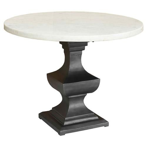 Danielle Country Classic Round White Marble Top Metal Pedestal