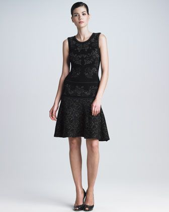 Bonded Floral Jacquard Flounce Dress by Zac Posen at Neiman Marcus.