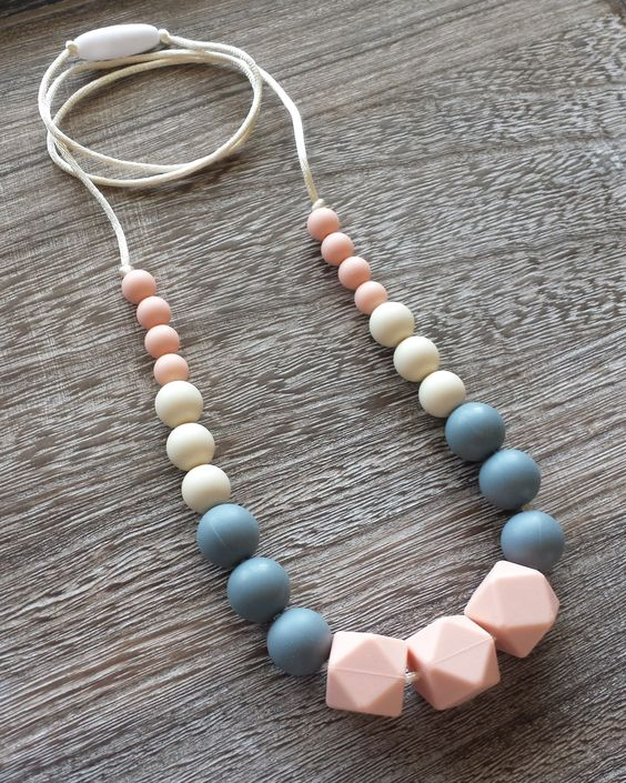 Chewable Silicone Teething Necklace in Mint and Grey – Sugarplum Collection