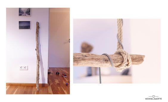 Zwei Fotos mit Utensilien für die DIY Holzlampe