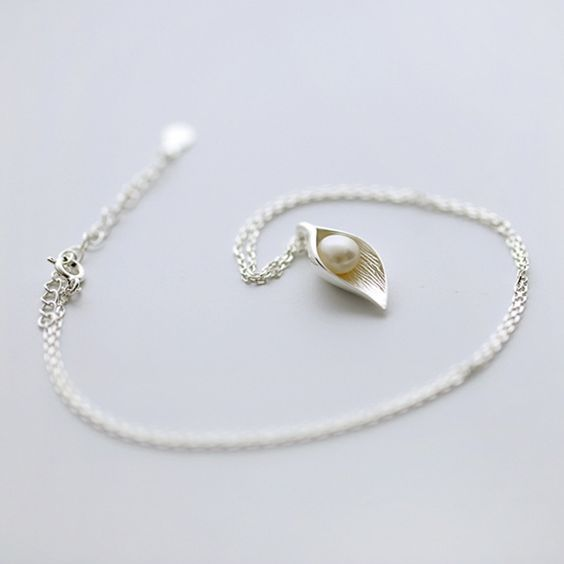 2016 Fashion Women Necklace Leaf Pearl 925 Sterling Silver Necklace Personalized Sweet Pearl 925 Silver Necklace