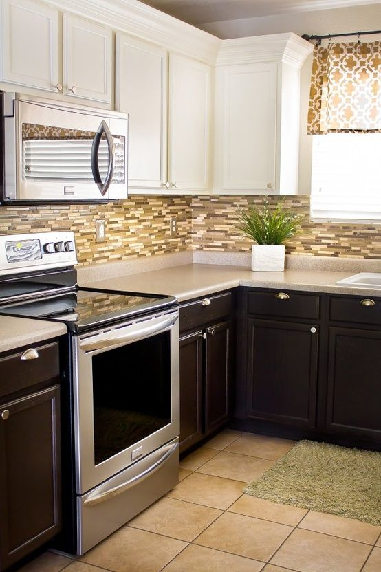 Kitchen Updates on a Dime dark lower cabinets, white upper cabinets