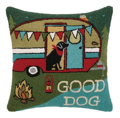 Peking-Handicraft-Pillow-Going-Places-Happy-Camper-Hooked-Pillow-18x18-Multi-Clr