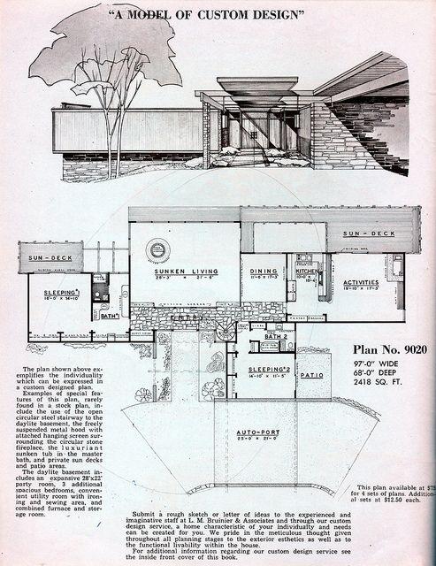 72 best Midcentury Floor Plans images on Pinterest Vintage