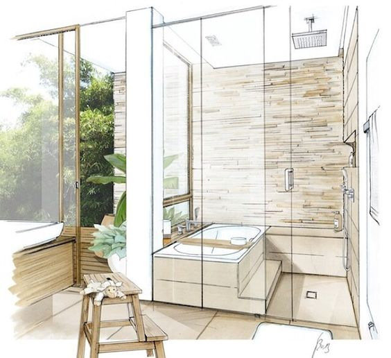 Bathroom Sketch Nice Combination Bath And Shower Space Bathroom Badkamer Pinterest The