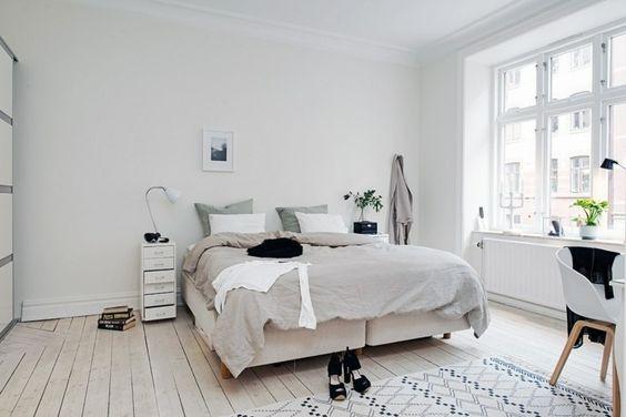 Schlafzimmer skandinavischer stil  wohnideen schlafzimmer skandinavischer stil weiße wände pflanzen ...