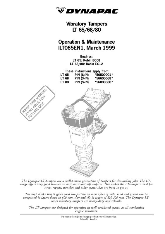 Dynapac Lt 65 68 80 Operation And Maintenance Manual Pdf Download Operation And Maintenance Manual Repair Manuals