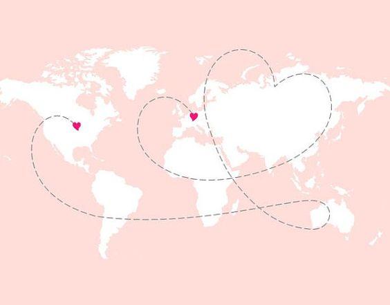 Long Distance Love Map- custom art print