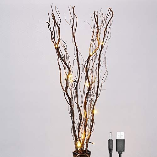 Lightshare Upgraded 36inch 16led Natural Willow Twig Lighted Branch For Home Decoration Usb Plug In And Battery Powered Twig Lights Natural Branches Lighted Branches