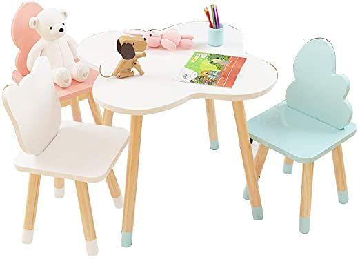 Klsjj Kids Table And 3 Chair Set Wooden Table Furniture For Children Toddler Creation Inspiring Activity Table Desk S In 2020 Wooden Tables Table Furniture Kid Table