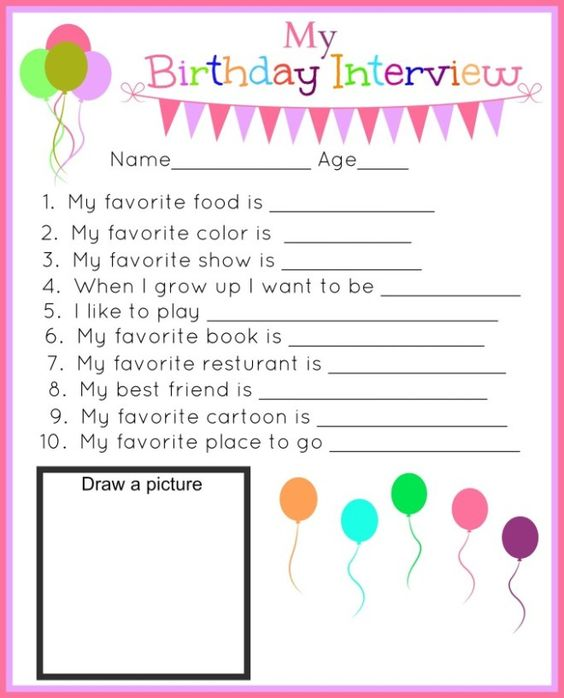 Printable Birthday Questions ~ Birthday interview printables and girls