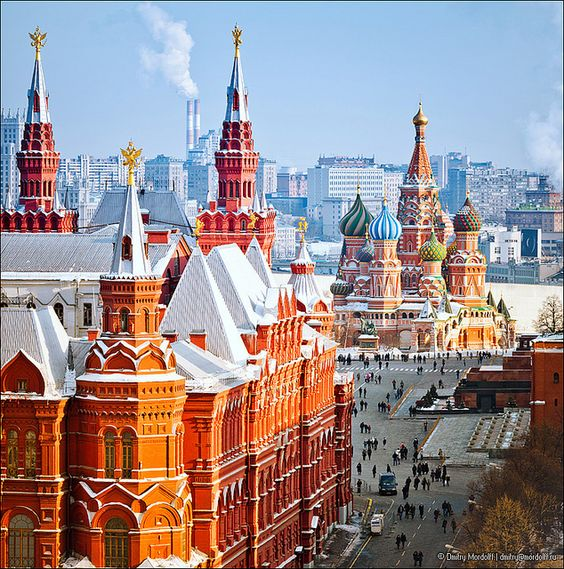 Historical Museum, St.Basil Cathedral, Red Square in Moscow. View from top of the Ritz-Carlton hotel.: