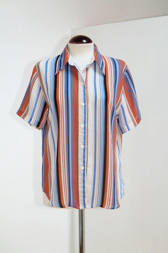 Vintage 80s Striped Shirt por Laimperdible en Etsy