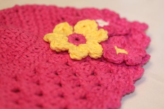 Valentines day beanie with crocheted flowers by Cottonbeanies, $12.00