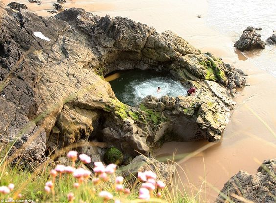 Blue Pool at Blue Pool Bay, North Gower, located at the southwestern tip of the Gower Peninsula in Swansea