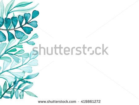 Card With Watercolor Blue Foliage