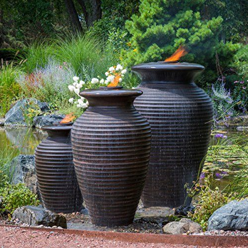 Aquascape Rippled Urn Water Fountain For Outdoor Landscape And Garden Available In 3 Sizes Water Fountains Outdoor Yard Water Fountains Water Fountain