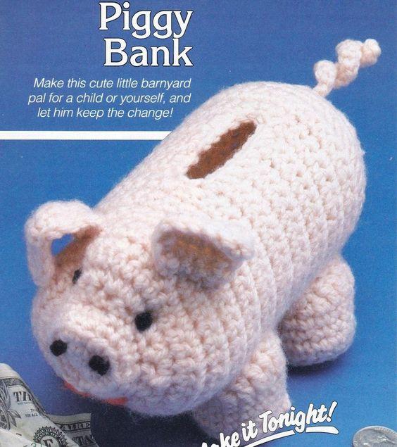 CUTE Piggy Bank/Decor/Crochet Pattern INSTRUCTIONS ONLY