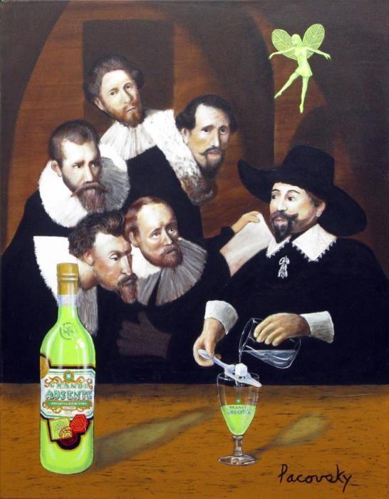 Grande Absente Absinthe Originale art- Homage a Rembrandt- by John Pacovsky