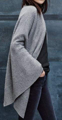 rib knit cashmere wrap