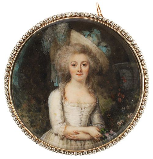A miniature portrait of a woman by Peter Adolf Hall. 18th century.