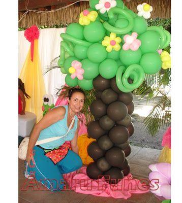 Arbol en globos para ambiente jardin mis decoraciones de for Decoracion de jardines para fiestas