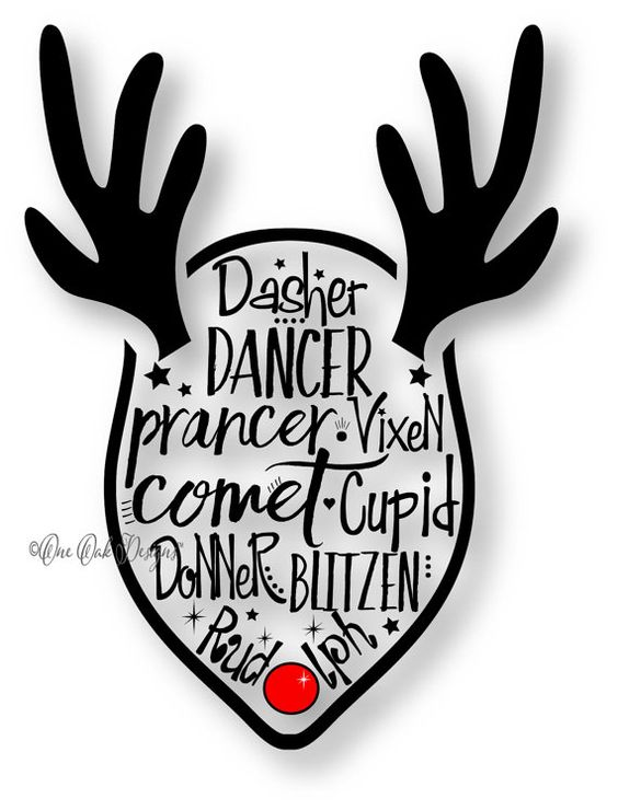 Reindeer SVG File PDF / dxf / jpg / png / eps / ai / Reindeer Names for child SVG File for Cameo V2 V3 for Cricut & other electronic cutters
