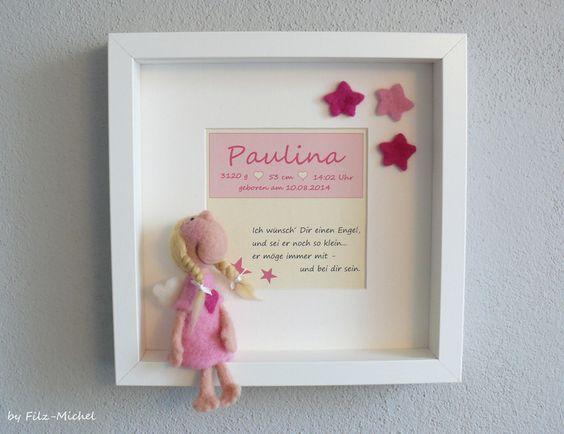 Schutzengel-Mädchen+&+Rahmen+Geschenk+Geburt+Taufe+von+Filz-Michel+auf+DaWanda.com