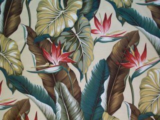 Tropical Barkcloth Fabric SHOWER CURTAIN~BOParadise-Nat