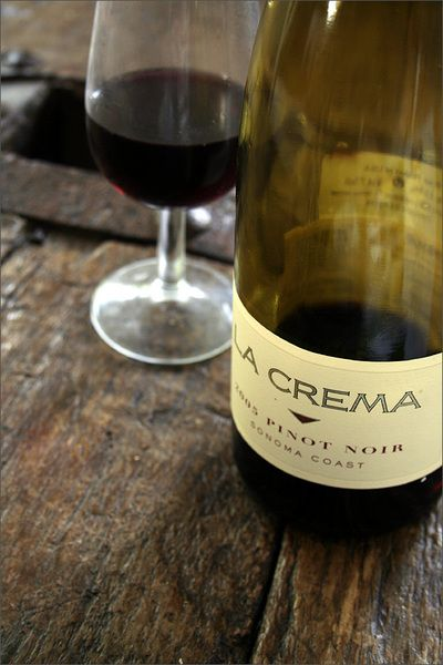 La Crema Pinot Noir, one of my favorite affordable wines!  I may have to treat myself to a glass tonight!